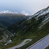 Ascending Grimselpass as the sun sets, hoping to catch a sunset once over the top.