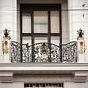 A regular Viennese wrought iron window guard