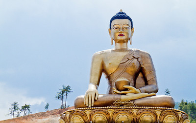 The world's largest seated Buddha located outside Thimphu, Bhutan.