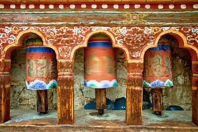 Spinning Prayer Wheel in Ura, Bhutan.
