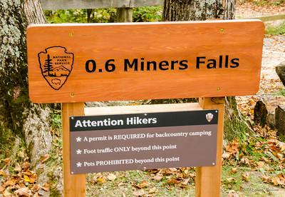 Miners Falls sign