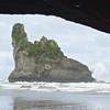 Rock stack through arch
