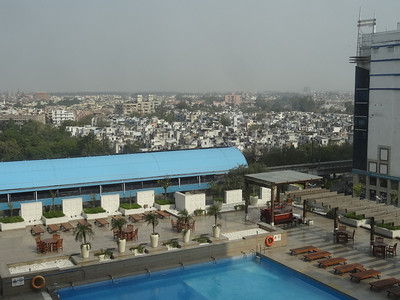 Looking over Delhi from our hotel room