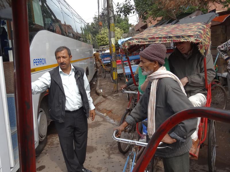 Piyush hiring pedicabs for tour of Old Delhi
