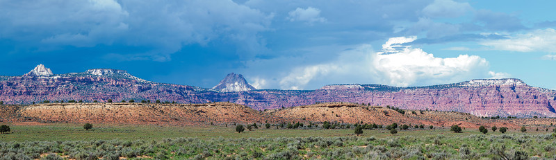 On the Road to Page, AZ - 15 portrait images stitched to a pano. Very Technocolor landscape.