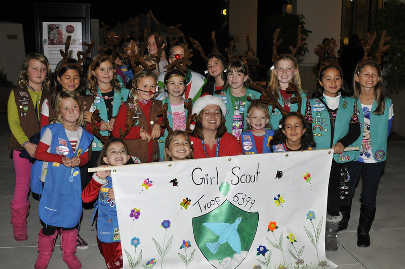 Quinn's (with Rudolph nose) girl scout troop was in a parade