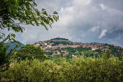 View of the hill where the center of Alatri resides...you can see the Cathedral's tower.