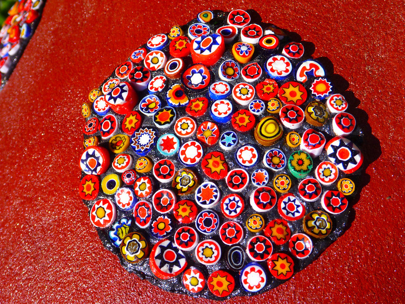 Cloes-ep of Ladybug spots. Made from Goulemine beads originally from Morocco