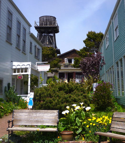 Side alley downtown Mendocino.