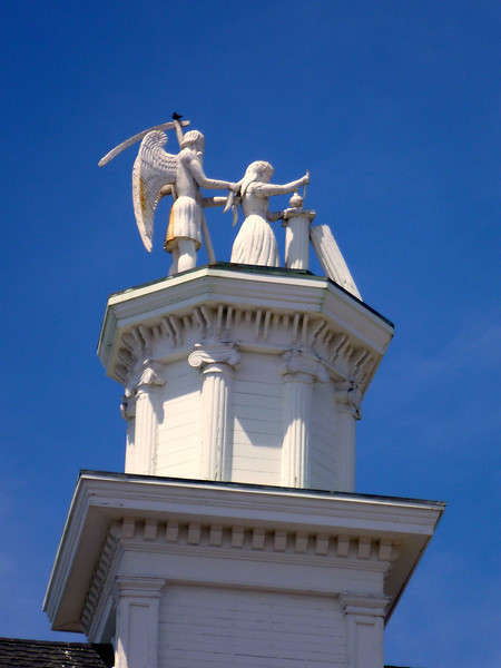 """Roof topper for the Mason""""s Hall. Apparently all carved from one piece of Redwood."""