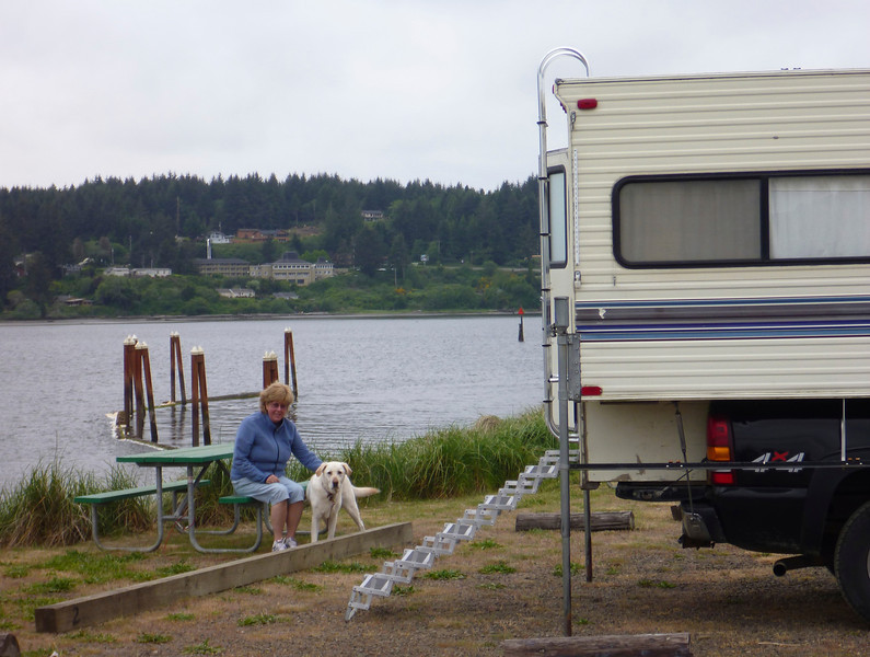 Our campsite in Florence, on the Siuslaw River.