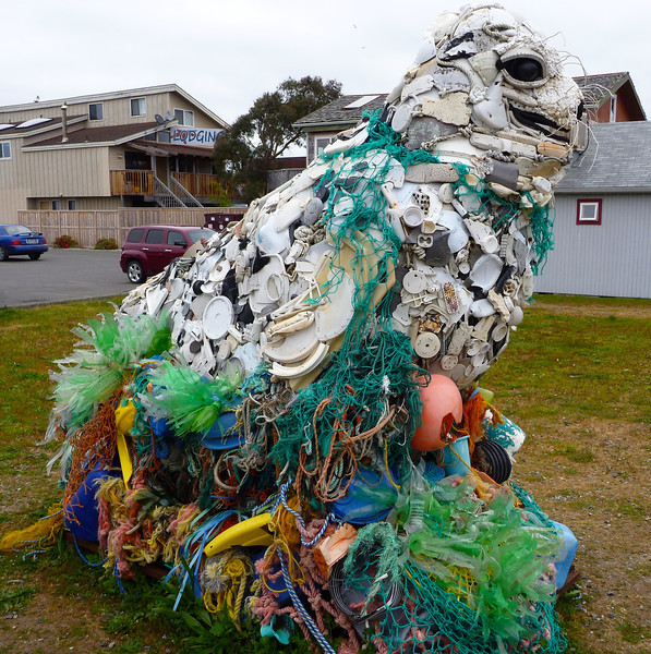 This sea lion was made of ocean recovered plastic.