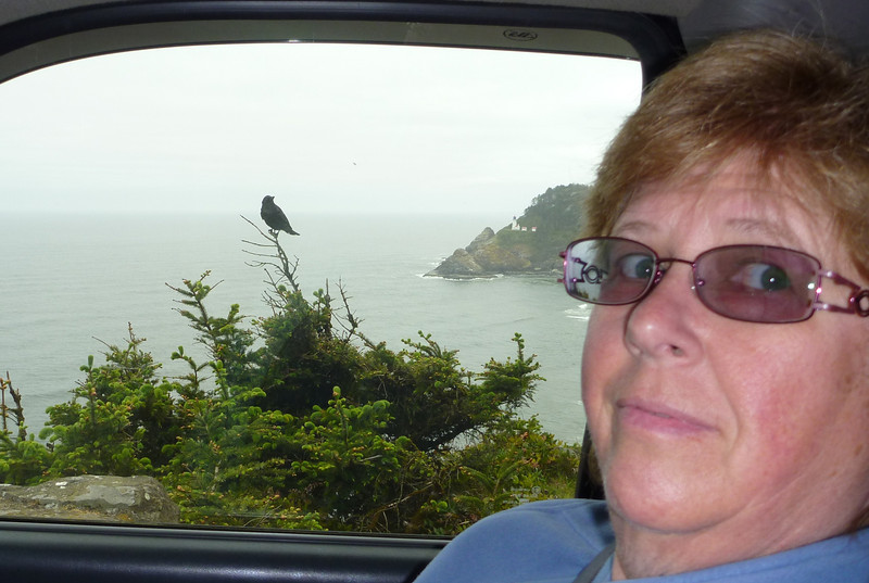 Daphne & a local at Heceta Point lighthouse