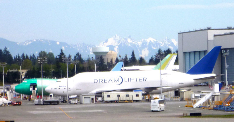 Boeing Dreamlifter. One of the largest airplanes ever made. Able to hold the body of a 777 inside. That's a regular 747 beside it.