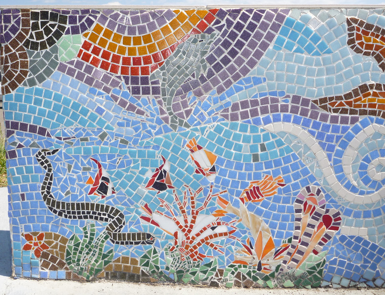 Mosaic found on an ocean lookout point