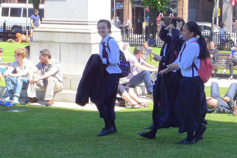 School girls playing hooky!