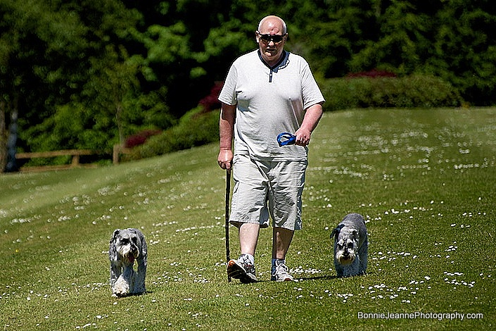A local walking his dogs on the lawn.