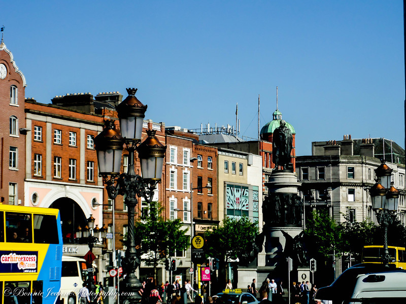 The beginning of O'Connell Street - a main thorough fare.