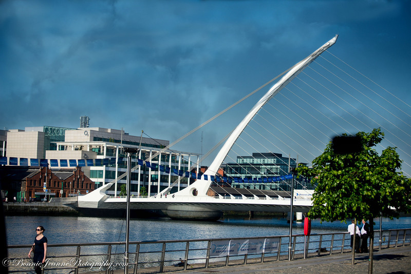 The bridges over the River Liffey are all named after authors - the newest shaped like a harp is the Samuel Beckett Bridge.