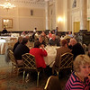 Hotel ballroom set up for breakfast