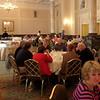 Hotel ballroom set up for breakfast