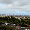 View of Honolulu - Diamond Head from parking lot at airport