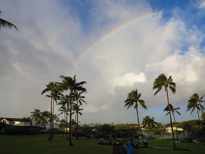 rainbow over the Poipu greenbelt path