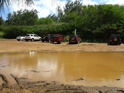 parking lot for Mahaulepu Beach