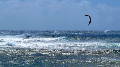 kite surfer at Mahaulepu Beach