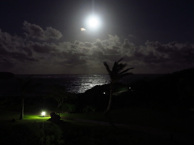 very bright moon near the Point at Poipu