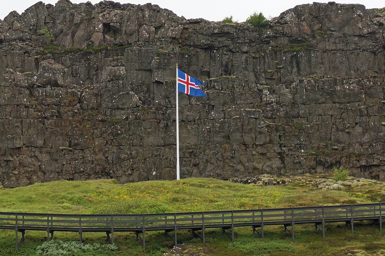 Thingvellir National Park.  Law rock the site where the Alping's Lawspeaker stood and recited the country's laws to the masses below.