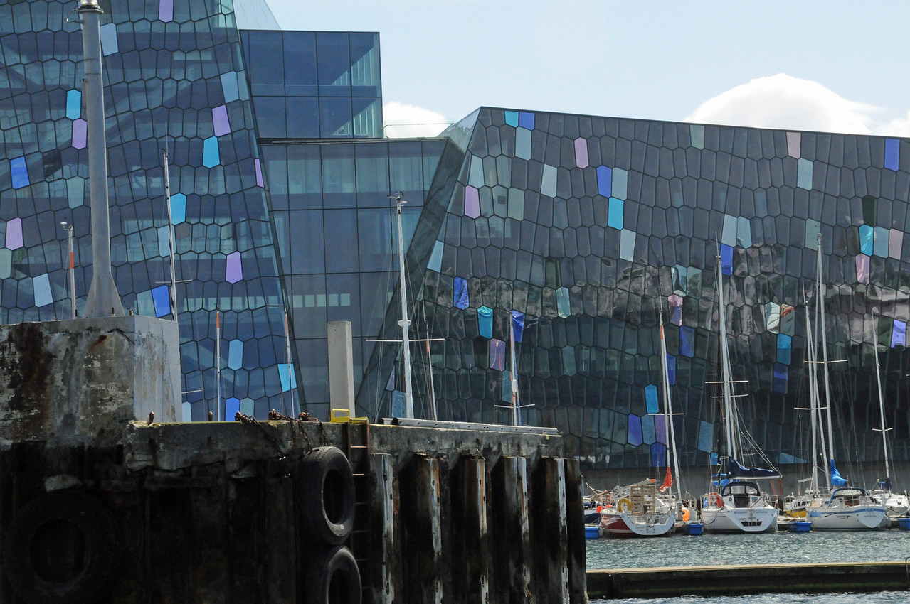 View of the Harpa home of the Iceland Symphony Orchestra and the Icelandic Opera