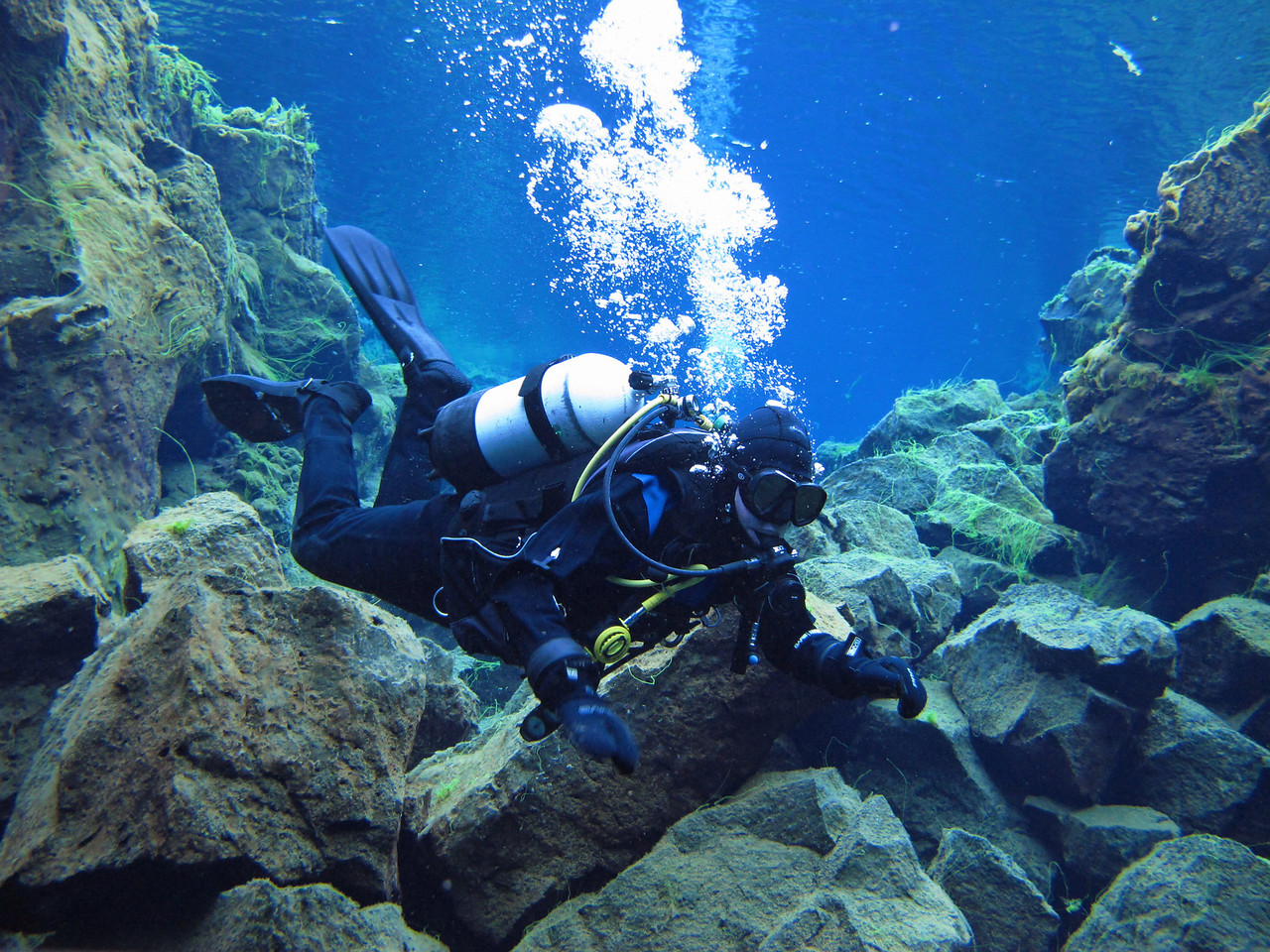 Mike scuba diving in Iceland in dry suit