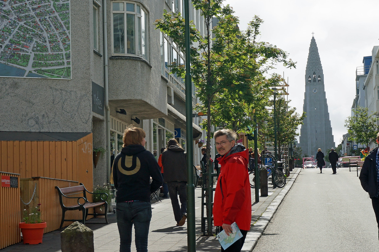 Heading to Iceland's tallest building Hallgrimskirkja (church at end of street)