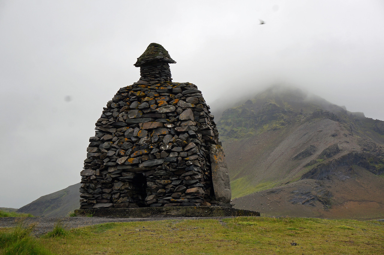 Rock monument to Baroar at Arnastapi considered the man of the mountain and guardian spirit to Snaefellsjokull