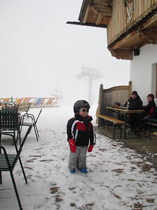 3 years of age Skier with a dummy in his mouth