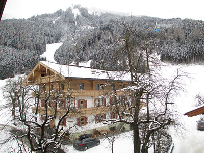 view from hotel. If you look at the roof of the house you can see the end of the slope that was used for many years as part of the Ski World Cup Downhill. It is now classified as a red slope, but is know as a particularly difficult red