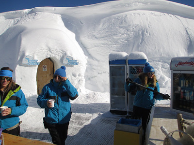 This is the White Lounge bar up on the Ahorn. It is a huge Igloo that is made every year for the Ski Season.