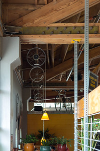 Entryway at Hopworks Urban Brewery, which is a pretty cool space. Bike parts and exposed wood and metal.
