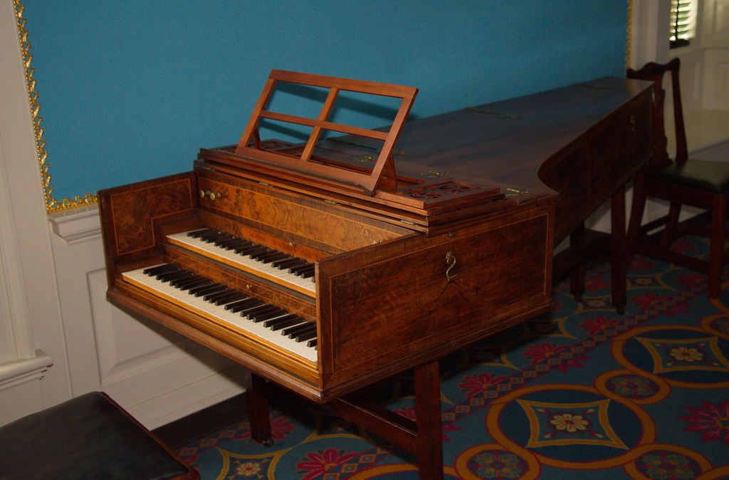 99 The Governor's mansion was also the site of happy times, as this two-keyboarded piano implies.