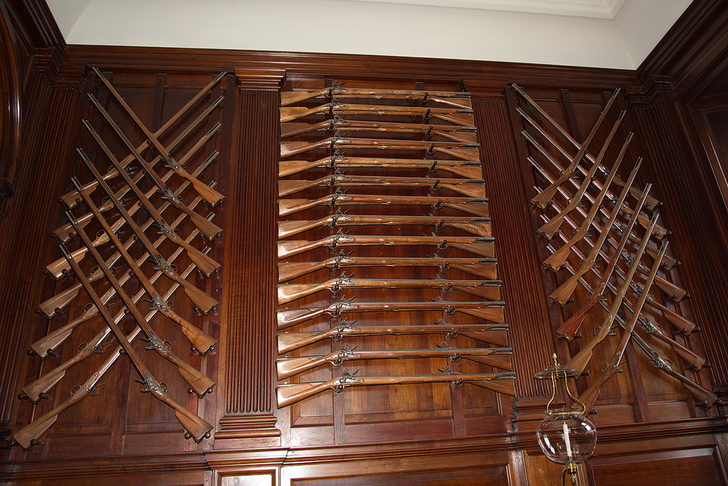 93 The Governor's mansion is well stocked with armaments, as seen by these muskets (there are 58 in this photo), ...