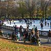 Skating on Boston Common Frog Pond in late November.  Boston Common, Boston, Massachusetts.
