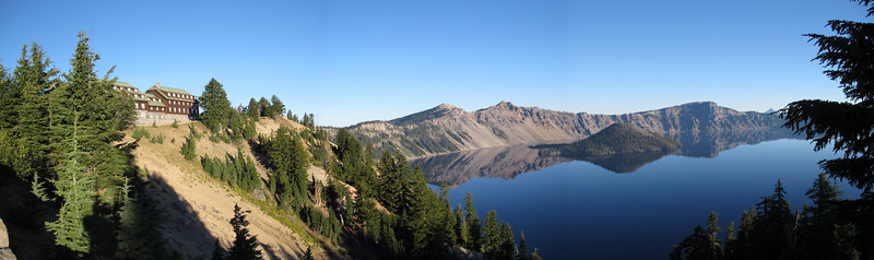 Stitched photo of Crater Lake, early in the morning