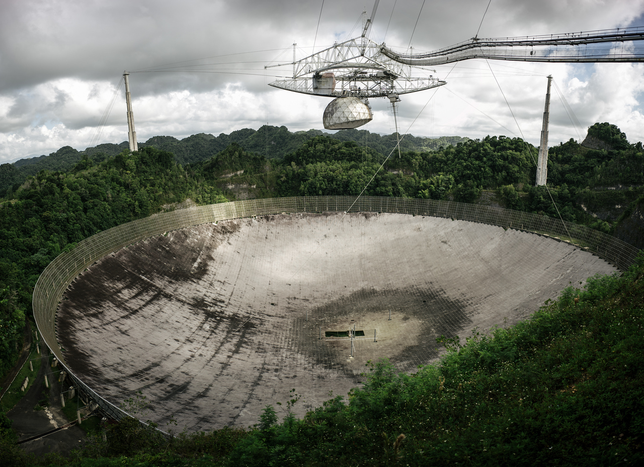 The massive Arecibo Observatory in Puerto Rico <br /> Panoramic made from 5 wide angle Images.