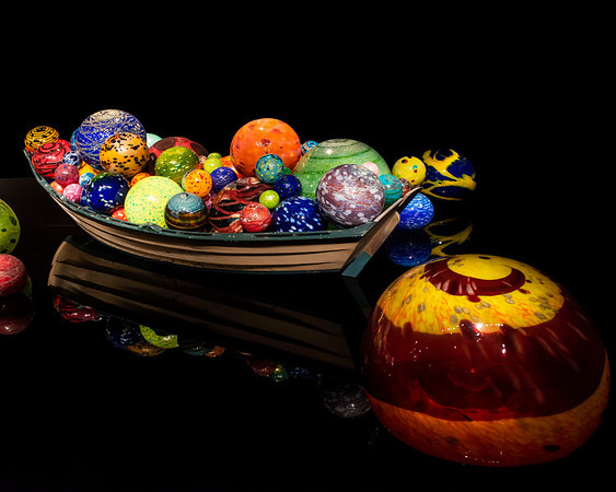 This is one of two Chihuly rowboats.  The other which shown is this gallery is filled with a multitude of snakey forms.