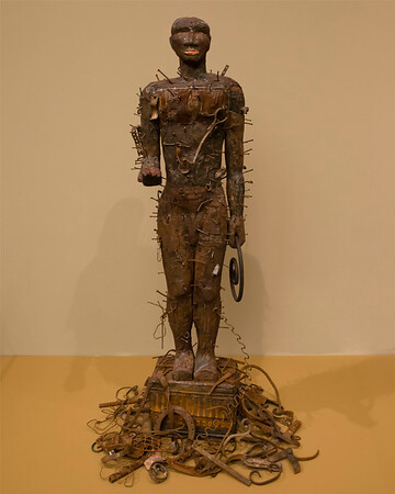 Untitled sculpture, 1989<br /> Wood, iron, and tin<br /> <br /> Alison Saar, 1956 -