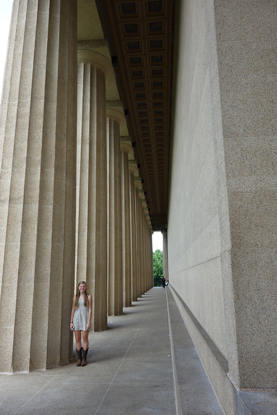 Oddly, Nashville has a replica of the Parthenon.  Her Maddie is demonstrating how large the posts are.