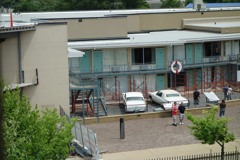 The Lorraine hotel where Martin Luther King was shot (coming out of room 306).  This picture was taken from the motel window where James Earl Ray stood when he fired his weapon.  The area now houses a nice civil rights museum.