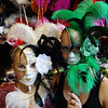 Jessie and Kelli modeling masks.  The girls loved the mask stores.