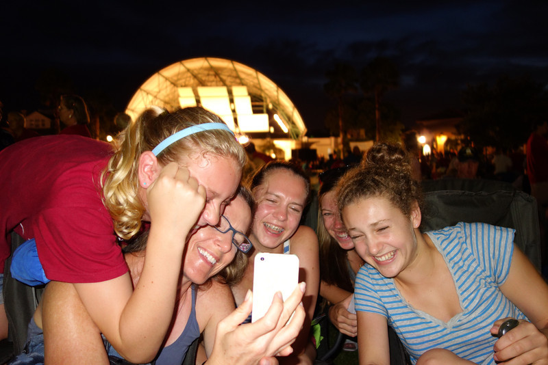 During intermission the girls gathered around Patty's iPhone and had fun looking at old photos and videos.